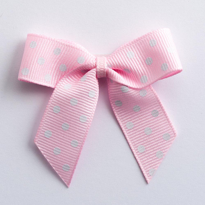 Pale Pink - Self Adhesive Pre Tied Polka Dot Bows - 5cm x 16mm Grosgrain Ribbon