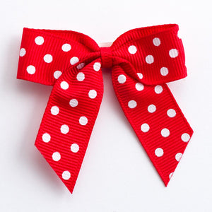Red - Self Adhesive Pre Tied Polka Dot Bows - 5cm x 16mm Grosgrain Ribbon - Button Blue Crafts