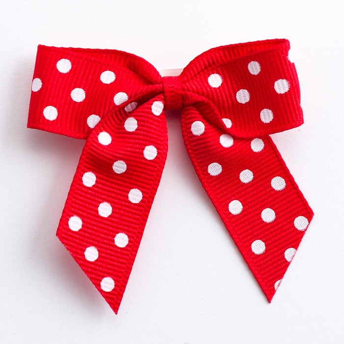 Red - Self Adhesive Pre Tied Polka Dot Bows - 5cm x 16mm Grosgrain Ribbon