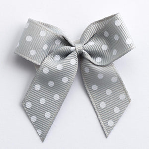 Silver - Self Adhesive Pre Tied Polka Dot Bows - 5cm x 16mm Grosgrain Ribbon - Button Blue Crafts