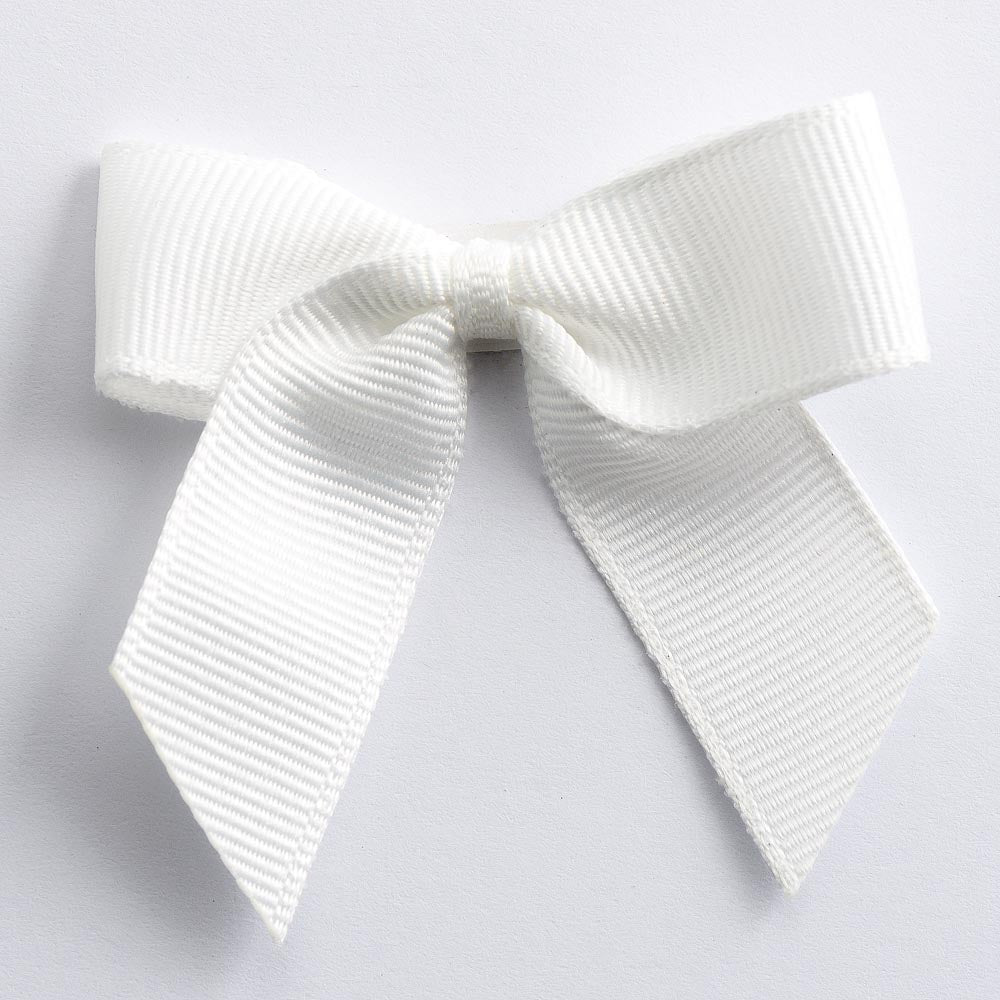 Ivory - Self Adhesive Pre Tied Bows - 5cm x 16mm Grosgrain Ribbon - Button Blue Crafts