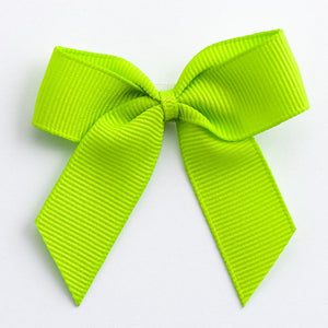 Lime Green - Self Adhesive Pre Tied Bows - 5cm x 16mm Grosgrain Ribbon - Button Blue Crafts