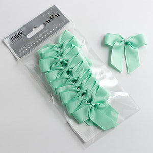 Mint Green - Self Adhesive Pre Tied Bows - 5cm x 16mm Grosgrain Ribbon - Button Blue Crafts