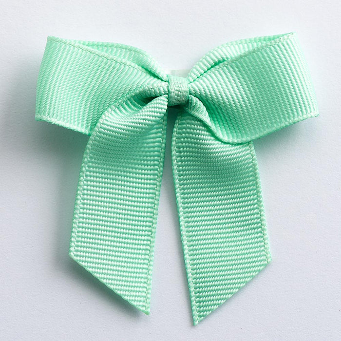 Mint Green - Self Adhesive Pre Tied Bows - 5cm x 16mm Grosgrain Ribbon