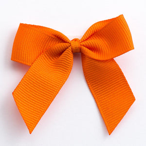 Orange - Self Adhesive Pre Tied Bows - 5cm x 16mm Grosgrain Ribbon - Button Blue Crafts