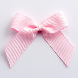 Pale Pink - Self Adhesive Pre Tied Bows - 5cm x 16mm Grosgrain Ribbon - Button Blue Crafts