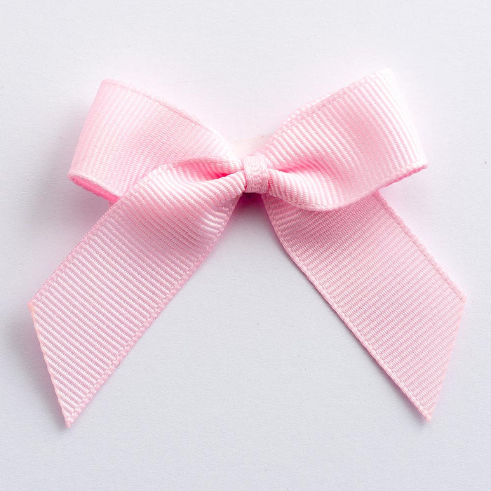 Pale Pink - Self Adhesive Pre Tied Bows - 5cm x 16mm Grosgrain Ribbon