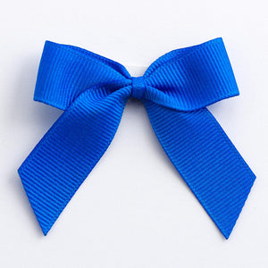 Royal Blue - Self Adhesive Pre Tied Bows - 5cm x 16mm Grosgrain Ribbon - Button Blue Crafts