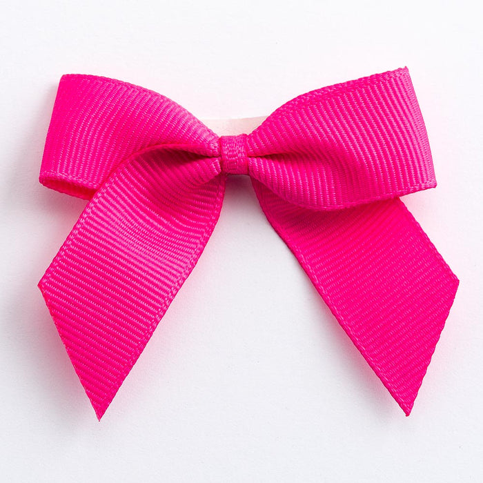 Shocking Pink - Self Adhesive Pre Tied Bows - 5cm x 16mm Grosgrain Ribbon