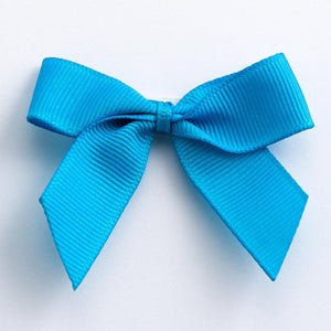 Turquoise - Self Adhesive Pre Tied Bows - 5cm x 16mm Grosgrain Ribbon - Button Blue Crafts