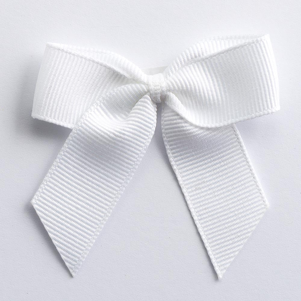 White - Self Adhesive Pre Tied Bows - 5cm x 16mm Grosgrain Ribbon - Button Blue Crafts