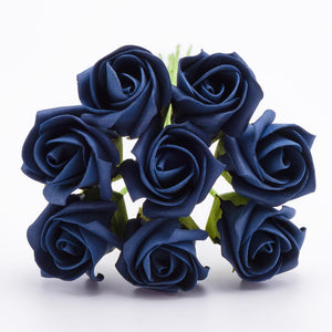 Navy Blue 3cm Small Foam Roses - Bunch of 8 Stems - Colourfast Flowers - Button Blue Crafts