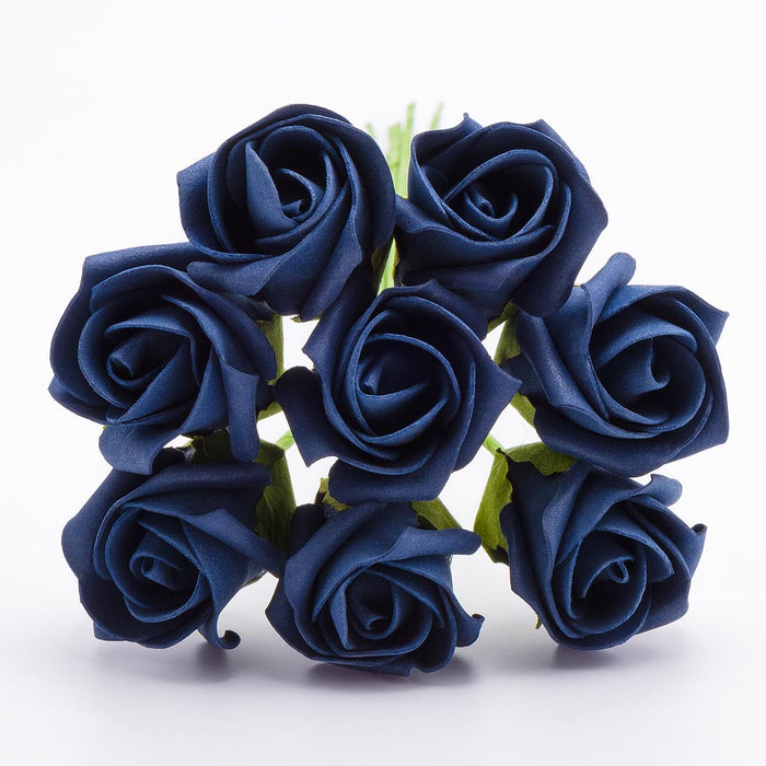 Navy Blue 3cm Small Foam Roses - Bunch of 8 Stems - Colourfast Flowers