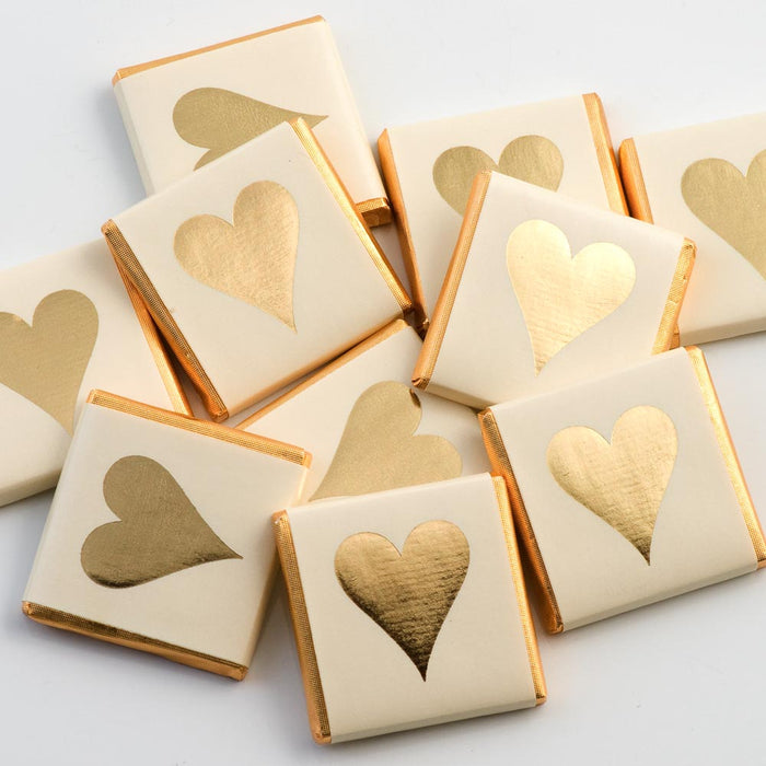 Gold Heart on Ivory Wrapper - Milk Chocolate Neapolitans - Wedding / Party Favours