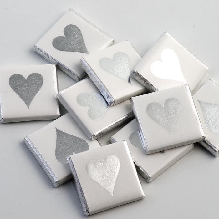 Silver Heart on White Wrapper - Milk Chocolate Neapolitans - Wedding / Party Favours