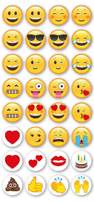 Emoji Puffy Craft Stickers - 15mm x 32 Pack - Button Blue Crafts