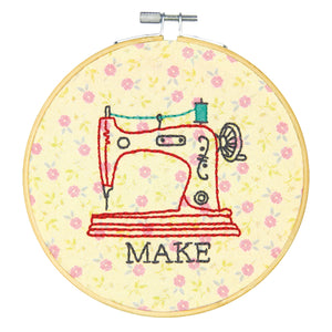 Dimensions Learn A Craft Crewel Embroidery Kit - Make - Sewing Machine - Button Blue Crafts