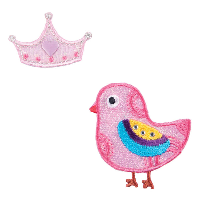 Pink Bird & Crown x 2 Motifs Iron or Sew On Applique - CFM2/057