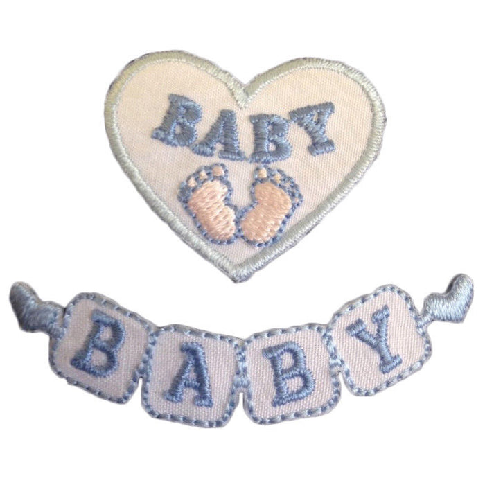 Blue Baby Motifs x 2 Iron Or Sew On Applique - CFM2/033X