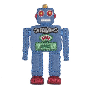 Blue Robot Motif Iron Sew On Embroidered Applique - CFM1/028X - Button Blue Crafts