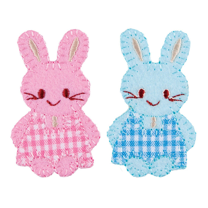 Blue Pink Baby Bunny Motifs x 2 Iron Or Sew On Applique - CFM2/038