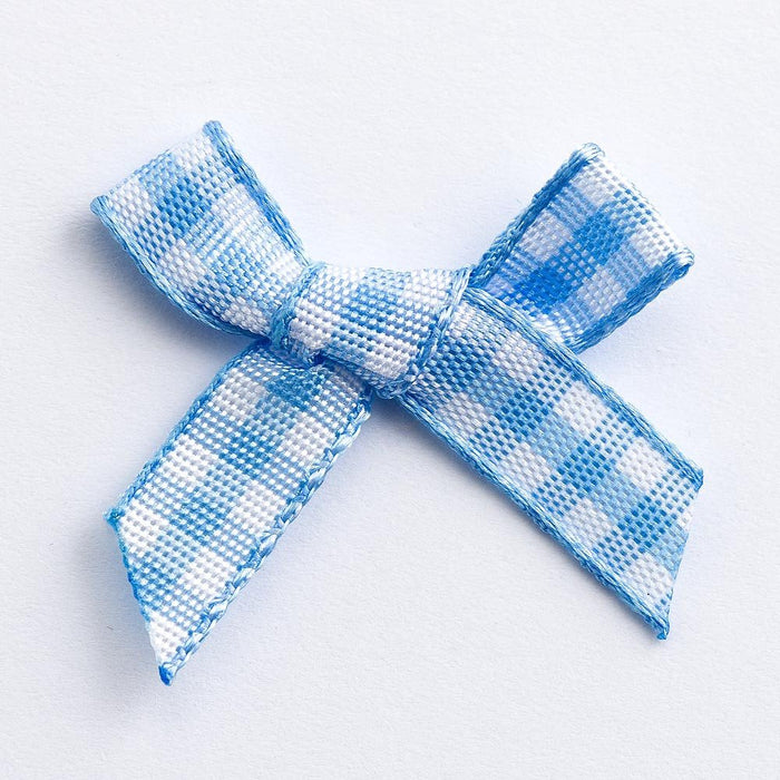 Pale Blue - Miniature Pre Tied Bows - 3cm x 6mm Gingham Ribbon