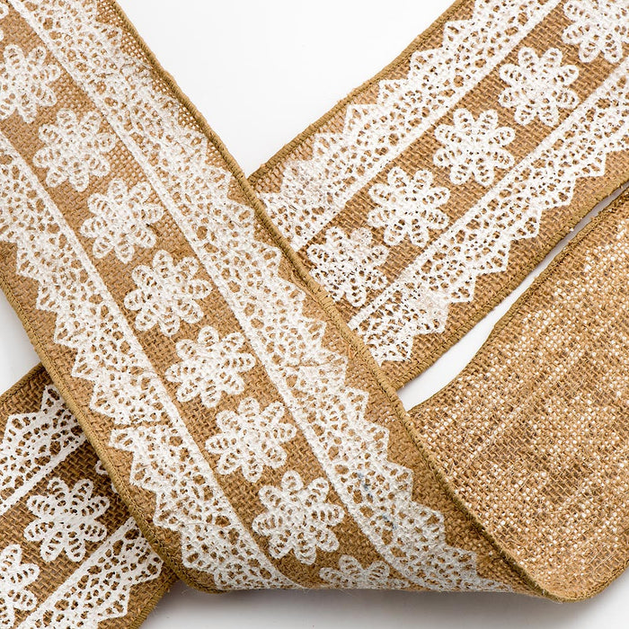 100mm White Daisy Lace Natural Hessian Burlap Ribbon