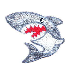Shark Motif Iron Sew On Embroidered Applique - CFM1/007 - Button Blue Crafts