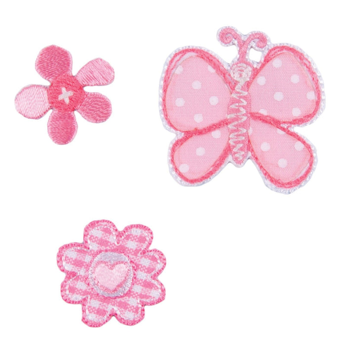 Butterfly & Flower x 3 Motifs Iron or Sew On Applique - CFM2/004