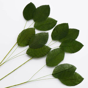 Green Artificial 3 Leaf Posy Stem - Bunch of 12 For Wedding, Home, Hair and Kids Crafts