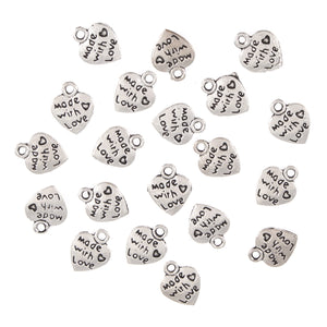Made With Love Metal Heart Charms 20 Pack Craft For Occasions - Small - C2308 - Button Blue Crafts