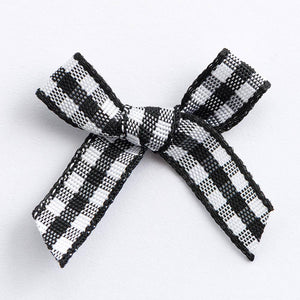 Black - Miniature Pre Tied Bows - 3cm x 6mm Gingham Ribbon - Button Blue Crafts