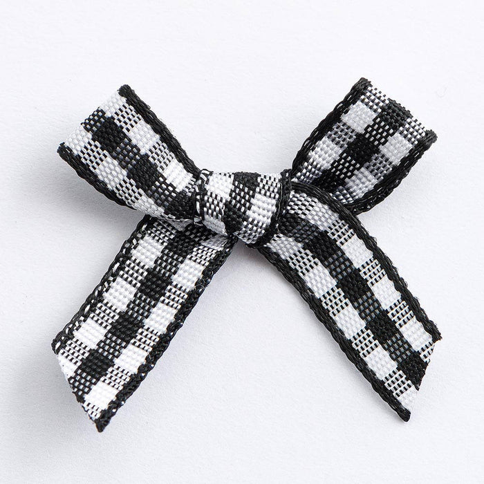 Black - Miniature Pre Tied Bows - 3cm x 6mm Gingham Ribbon