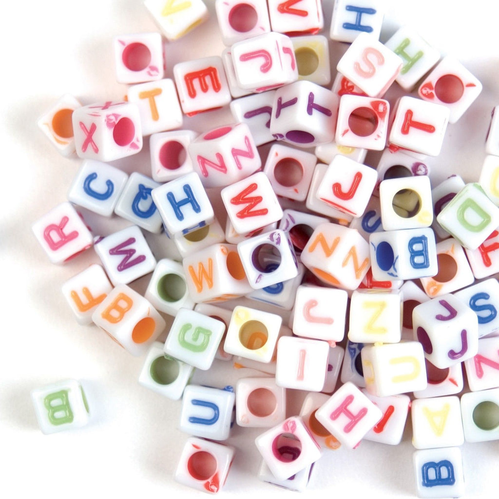 Trimits Multicoloured Square Alphabet Beads - 100 Pack - Button Blue Crafts