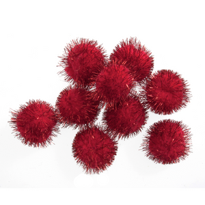 Trimits Red Tinsel Pom Poms - Medium 25mm - Button Blue Crafts