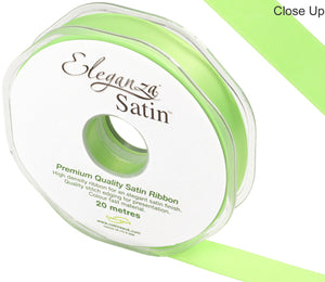 Eleganza Lime Green Satin Ribbon - Double Faced - 6 Widths - High Density - Button Blue Crafts