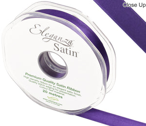 Eleganza Plum Purple Satin Ribbon - Double Faced - 6 Widths - High Density - Button Blue Crafts