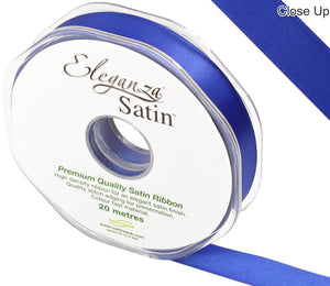 Eleganza Royal Blue Satin Ribbon - Double Faced - 6 Widths - High Density - Button Blue Crafts