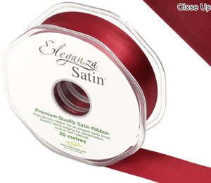 Eleganza Claret Red Satin Ribbon - Double Faced - 6 Widths - High Density - Button Blue Crafts