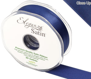 Eleganza Midnight / Navy Blue Satin Ribbon - Double Faced - 6 Widths - High Density - Button Blue Crafts