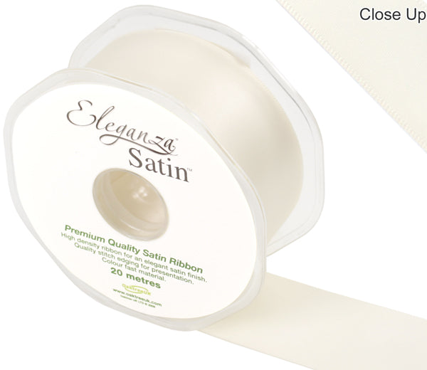 Eleganza Ivory Satin Ribbon - Double Faced - 6 Widths - High Density