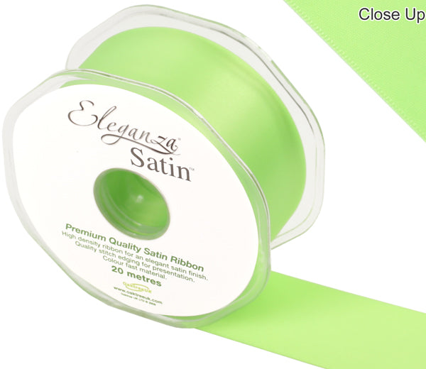Eleganza Lime Green Satin Ribbon - Double Faced - 6 Widths - High Density