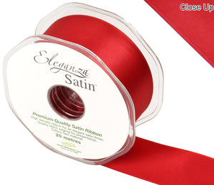 Eleganza Red Satin Ribbon - Double Faced - 6 Widths - High Density - Button Blue Crafts