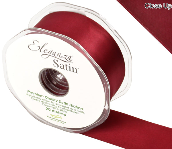 Eleganza Claret Red Satin Ribbon - Double Faced - 6 Widths - High Density