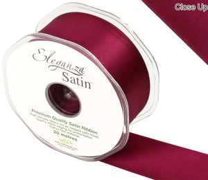 Eleganza Burgundy Satin Ribbon - Double Faced - 6 Widths - High Density - Button Blue Crafts