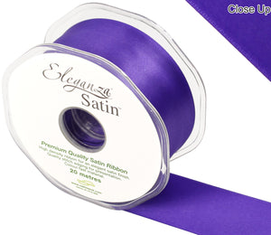 Eleganza Purple Satin Ribbon - Double Faced - 6 Widths - High Density - Button Blue Crafts