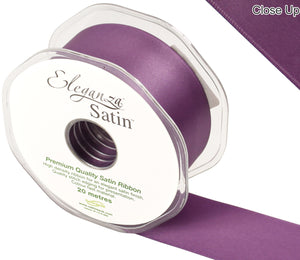 Eleganza Damson Purple Satin Ribbon - Double Faced - 6 Widths - High Density - Button Blue Crafts