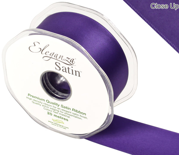 Eleganza Plum Purple Satin Ribbon - Double Faced - 6 Widths - High Density