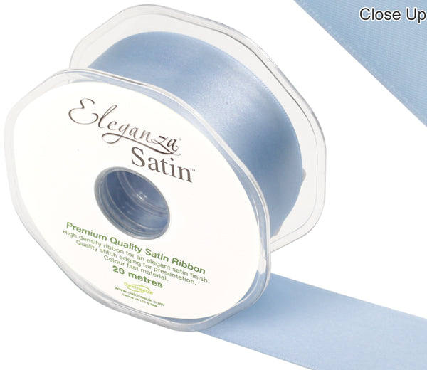 Eleganza Light Baby Blue Satin Ribbon - Double Faced - 6 Widths - High Density - Button Blue Crafts