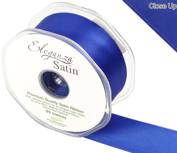 Eleganza Royal Blue Satin Ribbon - Double Faced - 6 Widths - High Density